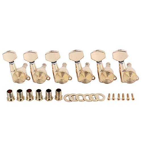 DishyKooker gitaar knop gouden kleur met slot 6R Ferrule schroefdraad Bush schroeven Set voor muziekinstrument accessoires (doos verpakking)