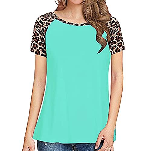 PRJN Camisa de túnica de Bloque de Color para Mujer, Cuello Redondo, Rayas, Manga Corta, Camisetas de Verano, Camisas de Rayas de Leopardo para Mujer, túnica de Manga Corta, Blusas de Retazos, Blusa