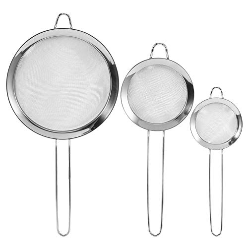 Set of 3 Stainless Steel Fine Mesh Strainers, Flour Sieve with Long Handle, Food Residue Filter Kitchen Supplies for Baking Cooking