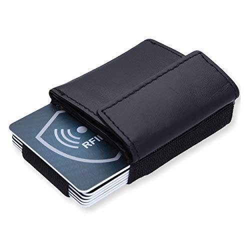 URBANHELDEN - Kreditkartenetui Mini Wallet NAOS - Mini Geldbörse aus Textil u Leder, Kleiner Geldbeutel, Kartenhalter, Mini-Portmonee für Herren und Damen (Schwarz)