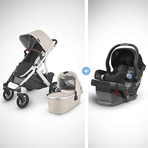 UPPAbaby Vista V2 Stroller- Declan (Oat Melange/Silver/Chestnut Leather) + Mesa Infant Car Seat - Jake (Black)