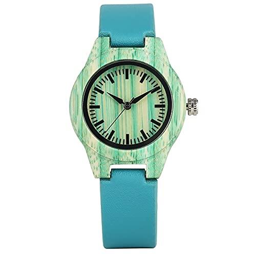 時計 夏のファッション女性のドレスブレスレットウォッチユニークなミントグリーンウッドウォッチクリエイティブブルーレザーウォッチ女性の手首 JIAQII (Color : Green)