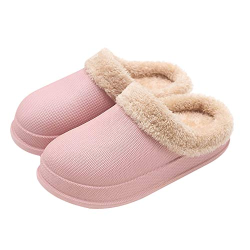EQUICK Men and Women Memory Foam Slippers with Ergonomic Pelvic Floor Cushioned Extra Thick Waterproof Anti-Skid Against The Stench Anti-mud House Slippers Indoor & Outdoor U220WJRTXFL-T-Pink-39/40