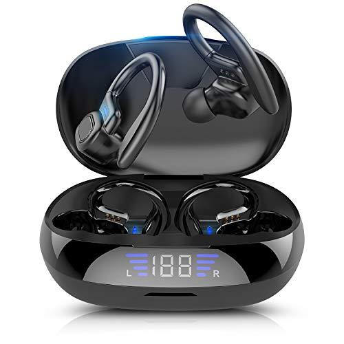 ist Präfekt für Streaming / Podcasting / Gaming Bluetooth 5.0 Ohrhaken-Ohrhörer LED Stromanzeige. TWS. In-Ear-Kopfhörer-Stereo-Geräuschreduzierung mit Mikrofon ( Color : Black )