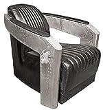 Casa Padrino Art Deco Sillón Aluminio Cuero Real Negro/Plata 74,5 x 94 x H. 78 cm - Muebles de Aviador para Aviones - Sillón Club - Sillón Lounge