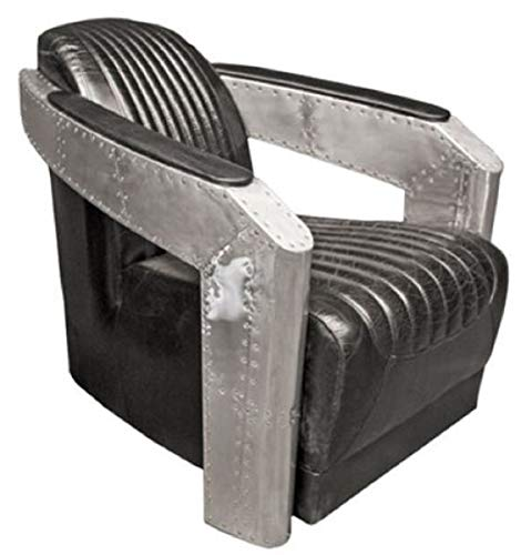 Casa Padrino Art Deco Aluminium Echtleder Sessel Schwarz/Silber 74,5 x 94 x H. 78 cm - Flugzeug Flieger Möbel - Club Sessel - Lounge Sessel