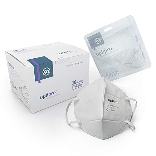 OptiPro FFP2 Maske Feinstaubmaske FFP2/KN95 Atemschutzmaske (x10) – Mehrschichtiges Vlies mit hoher Filtrationskapazität – Filtert Partikel aus der Luft (10 Stück)