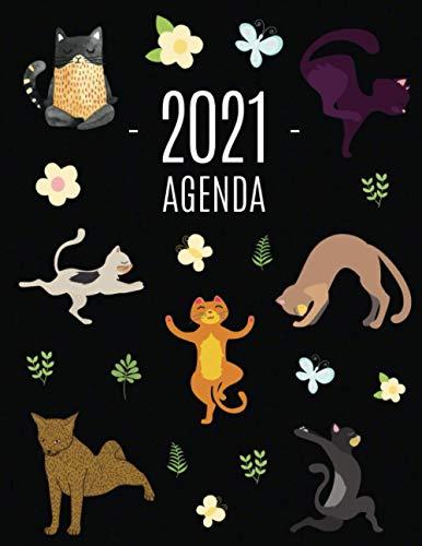 Gatos de Yoga Agenda 2021: Planificador Semanal | 52 Semanas Enero a Diciembre 2021