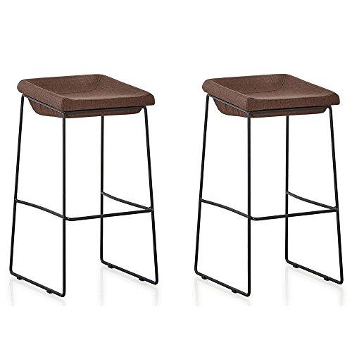 Designetsamaison Lot de 2 chaises Hautes Marrons - Udinese