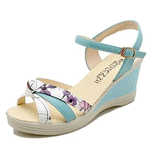 Sandalias de mujer con tacón de cuña, gladiador de verano, zapatos de playa de estilo romano, calzado con hebilla de tobillo, ropa de calle, sandalias de ocio para piscina