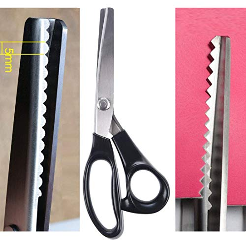 NEJLSD Pinking Shears for Fabric, Stainless Steel Handled Professional Dressmaking Sewing Scissors Zig Zag Fabric Craft Scissors (Scalloped 5mm)