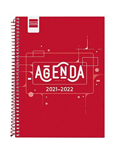 Finocam Agenda 2021 2022 Semana vista apaisada Septiembre 2021, Junio 2022 10 meses y Julio/Agosto resumidos 4º - 155x212 (mediano), Espiral Cool Rojo Español
