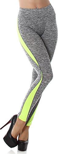 PF-Fashion Damen Fitnesshose Leggings Leggins Lang Sport Freizeit High Waist Hellgrau-Neon Gelb 38/40
