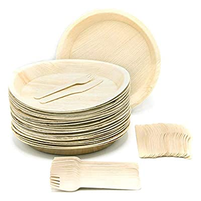 Palm Leaf Eco-Friendly Dinnerware Plates/Forks/Knives