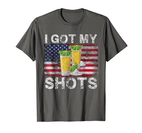 Funny I Got Both My Shots 2 Vasos de chupito Lima Cuñas Hombres Camiseta