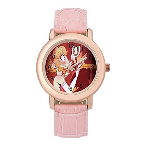 Star Vs Forces EvilLadies Reloj de cuarzo de cuero 2266 espejo de cristal redondo rosa accesorios casuales moda temperamento 1.5 pulgadas