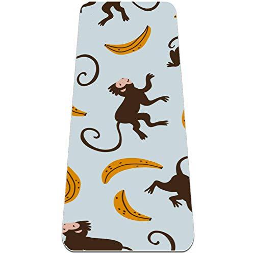 Eslifey Lindo mono Banana Esterilla de yoga gruesa antideslizante para mujeres y niñas, tapete de ejercicio suave para pilates (72 x 24 pulgadas, 0,6 cm de grosor)