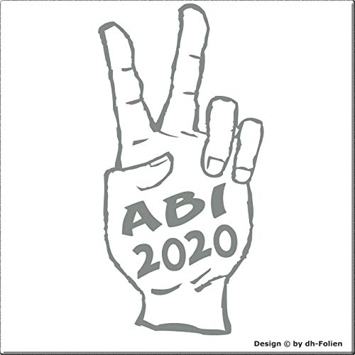 cartattoo4you® AB-02254 | ABI 2020 - Hand| K-Serie | 10 x 20 cm | Farbe Silber glänzend|in 23 Farben erhältlich Autoaufkleber Aufkleber Car Sticker Heckscheibe Abitur Spruch,Versand frei