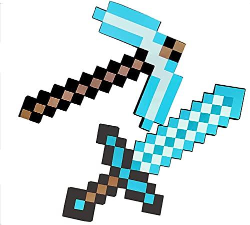 ZJIEX Escudo de Minecraft, Espada de Juguete de Espuma para niños, Espada de Diamante, Hacha de píxeles, Pala de píxeles, metralleta, piqueta, Pistola de píxeles (8 Combinaciones)