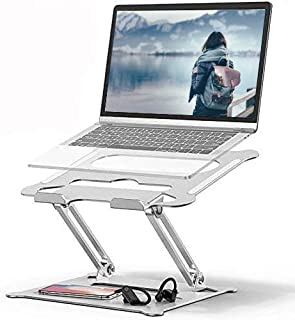Laptop Stand, Ergonomic Aluminum Laptop Mount, Adjustable Riser with Slide-Proof Silicone and Protective Hooks Compatible ...