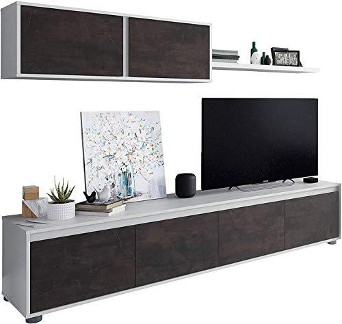 Mobelcenter – Mueble de Salón Moderno Alida – Módulo TV, Módulo Superior y Estante – Acabado en Color Blanco Artik y Óxido – Medidas: Ancho: 200 cm x Alto: 43 cm x Fondo: 41 cm - (1096)