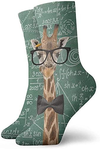 IUBBKI Calcetines unisex Profesor Jirafa Math Geek Pizarra divertida Novedad Calcetines deportivos Calcetines deportivos Medias 30CM
