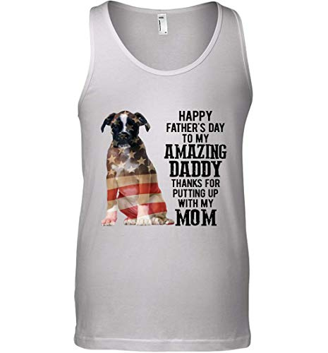 Vinsaco Boxer Dog American Flag Happy Father's Day to My Amazing Daddy Thanks for Putting up with My mom Tank Top