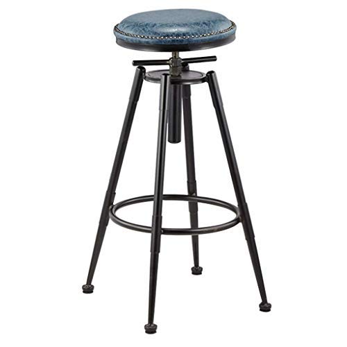 AYU Bar Stools Vintage Height Adjustable Industrial Bistro Pub Kitchen Counter Bar Chair, Faux Leather Seat, Black Metal Legs, Adjustable Height 26.8-35.4 inch
