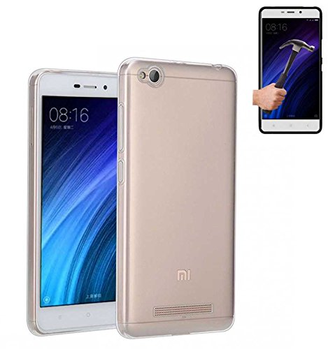 Todobarato24h Funda TPU Lisa Compatible con Xiaomi redmi 4a Transparente + Protector DE Cristal Templado