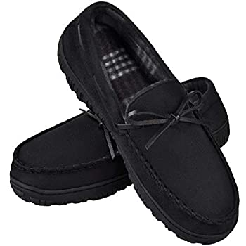Men s Classic Slippers Moccasin Mens House Slippers with Memory Foam MIXIN Moccasin Slippers for Men Cozy Lightweight Mens Slippers House Shoes Anti-Skid Sole Black size 10