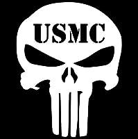 車のステッカーの装飾 14 * 9.5CM USMCパニッシャーSKULLスケルトンカーステッカーデカールオートバイ装飾パーソナリティカースタイリングブラック/シルバー (Color Name : Silver)