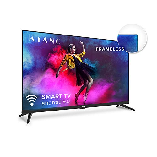 Kiano Elegance TV 50' Pouces 4K UHD HDR10 Metal Case (Android TV 9.0 2GB RAM Metal Case [Téléviseur 127 cm Frameless 8GB] Smart TV, Netfilx, Youtube) Triple Tuner DVB-T2 C/S2, CI, PVR, WiFi