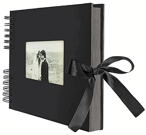 AIOR Album de Fotos para Pegar y Escribir Scrapbook, 80 Páginas Negras, DIY Scrapbooking Album, Regalos Navidad Original para Niña, Regalos Aniversario de Boda de Cumpleaños para Mujer Novia (Negro)