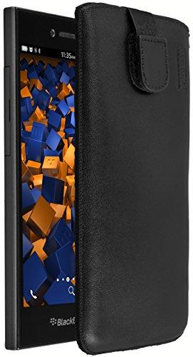 mumbi Echt Ledertasche kompatibel mit BlackBerry Leap Hülle Leder Tasche Hülle Wallet, schwarz