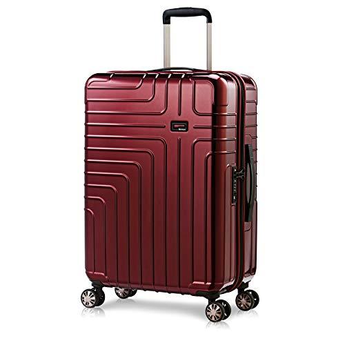 Eminent Valigia media Helios 67 cm 70 L Valigia da viaggio Rigida Leggera 4 doppie Ruote Lucchetto TSA Rosso