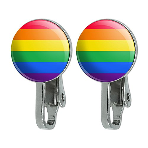 GRAPHICS & MORE Rainbow Pride Gay Lesbian Contemporary Novelty Clip-On Stud Earrings