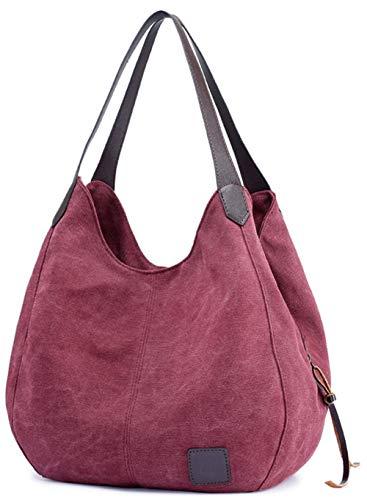 Maysurban Canvas Umhängetasche Damen Handtasche Schultertasche Stoff Hobo Bag Frauen Leicht Vintage für Alltag Büro Rot