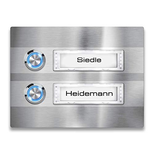 Metzler Türklingel - 2-fach Klingelplatte aus Edelstahl - Namensschild austauschbar - mit LED-Taster und Beleuchtung (optional) (Namensschild mit Beleuchtung, LED-Taster Blau)
