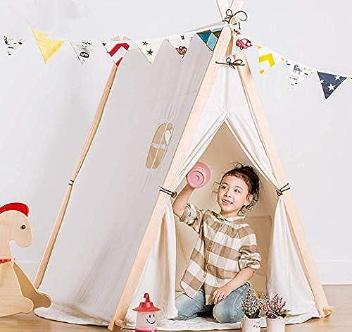 Kinder Tipi Spielzelt - Indian Wigwam Kinder Tipi Play House - 100% Baumwolle Canvas Princess mädchen Zelt für Indoor und Outdoor (Weiß Style)