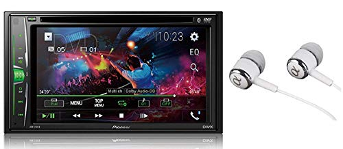 Pioneer in-Dash Double Din WVGA Display Built-in Bluetooth Multimedia DVD CD MP3 USB AM/FM Touchscreen Dual Phone Connection Car Stereo Receiver/Free Alphasonik Earbuds (Band With The 1991 1 Hit Unbelievable)