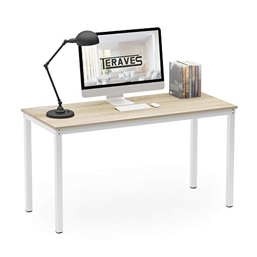 """Teraves Computer Desk/Dining Table Office Desk Sturdy Writing Workstation for Home Office(55.11"""", Beige + White Frame)"""