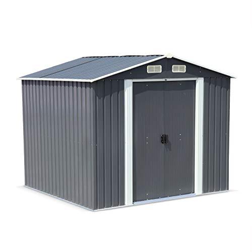 Alice's Garden Caseta de Metal - Cabaña de Herramientas con Dos Puertas correderas Grandes - Artois 5 m² Antracita -