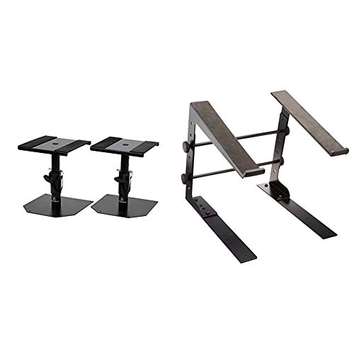 Dicon Audio SS-032R Tabletop Monitor Speaker Stand, Pair & LPS-002 with clamps LAPTOP STAND Laptop Stand, Black