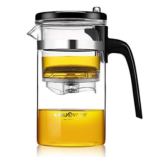 KAMJOVE Teekanne 500 ml Glaskanne Teeservice Filtersieb, Since1989 Teapot Kungfutee Glas Teebereiter All-in-one-Set Tee und Kaffee -ausbaubares Filtersieb