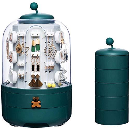 Fikujap exhibición de la joyería de Lujo rotación de Caja automática con 5 Capas Elegante sostenedor del Soporte de Gama Alta joyería rotativa del Reloj Organizador con 39 Caso Ganchos,Verde