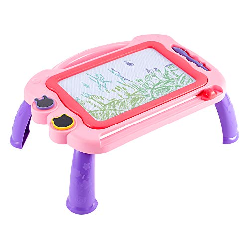 VConejo Magnetic Drawing Board Toy for Kids Toddler, Large Doodle Board Writing Painting Sketch Pad with Detachable Table Legs for Girls Boys