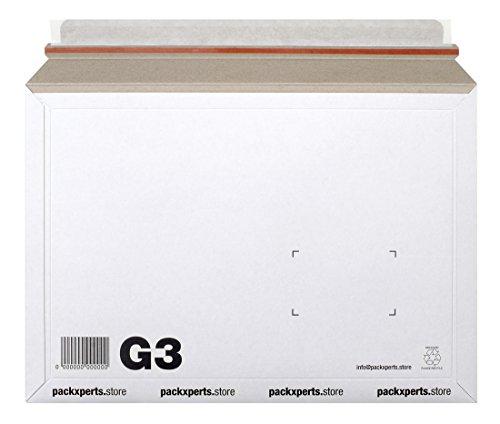 Packxperts verzendtas van karton, zelfklevend met afscheurstrips (pak van 50), 352 x 249 mm, wit, 50