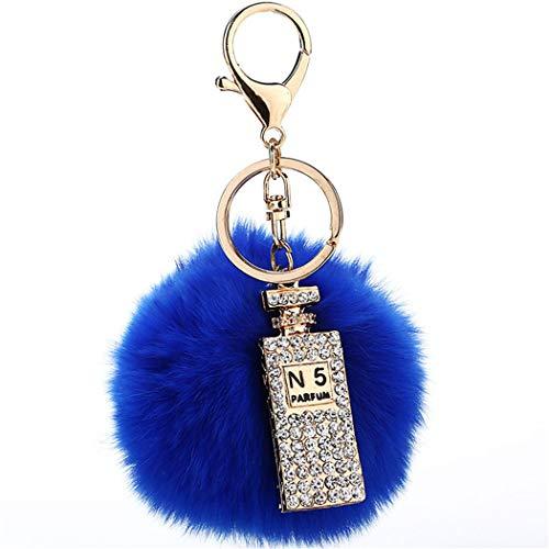 Schlüsselanhänger plüsch Ball Taschenanhänger Strass bommel Keychain Elegant Plüsch-Kugel Auto-Anhänger Pompom mit Strass Parfümflasche Glitzer Weich Schlüsselring (Blau)