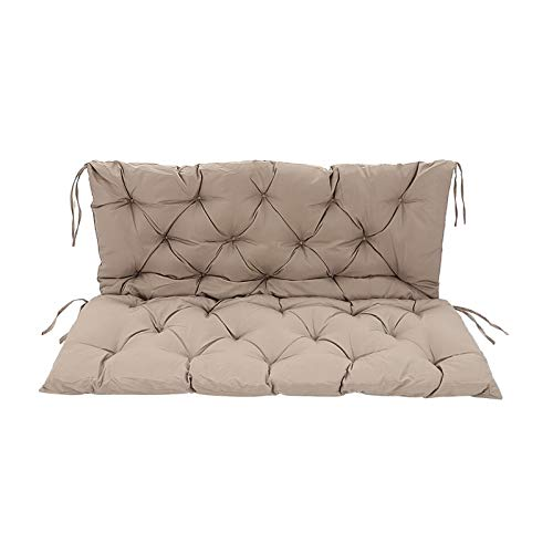 AllRight Swing Chair Cushion Garden Bench Cushion Flame Retardant Fabric For Waterproof Pad Outdoor Garden Terrace Bench Soft Cushion Replaceable Seat Backrest 120x100x10cm Khaki