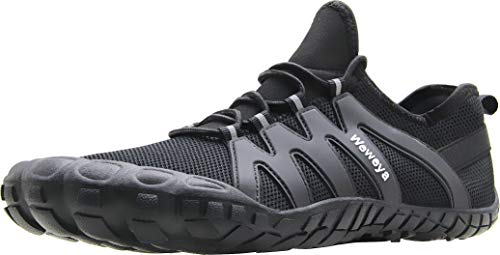 Weweya Barfußschuhe für Herren, minimalistischer Laufschuh, Cross-Trainingsschuh, Schwarz (schwarz), 45.5 EU